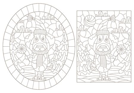 Set of contour illustrations of stained glass Windows on the theme of winter holidays, funny cartoon dogs on the background of winter landscapes, dark outlines on a white background Ilustrace