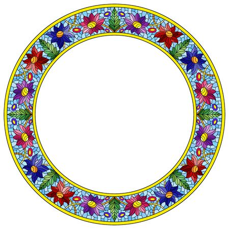 Illustration in stained glass style flower frame, bright flowers and  leaves in blue frame on a white background Ilustrace
