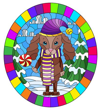 Illustration in stained glass style on the theme of winter holidays, cute cartoon poodle dog on the background of a winter landscape, oval image in a bright frame