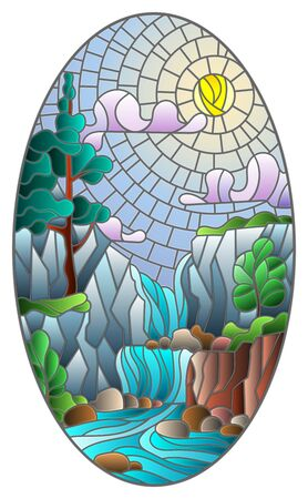 Illustration in stained glass style landscape ,the tree on the background of a waterfall, mountains, sun and sky, oval image