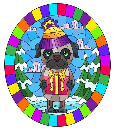 Illustration in stained glass style on the theme of winter holidays, cute cartoon pug dog on the background of a winter landscape, oval image in a bright frame