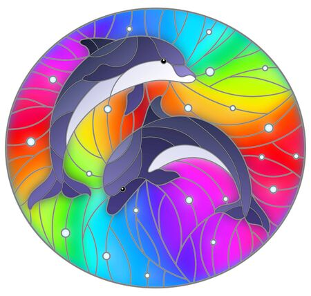 Illustration in the style of stained glass with two  dolphins on a rainbow background  and air bubbles