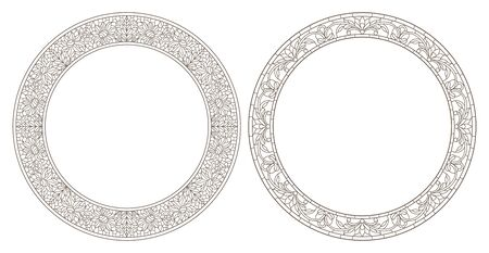 Set contour illustrations of stained glass with floral framework,dark outline on white background