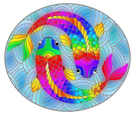 Illustration in stained glass style with abstract bright rainbow fishes on blue background, oval image
