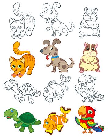 Set of  illustrations with Pets, bright animales and contours isolated on a white background