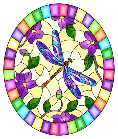 Illustration in stained glass style with bright purple dragonfly , foliage and purple flowers,oval image in bright frame