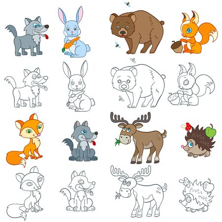 Set of  illustrations with forest animals, bright animals and contours isolated on a white background