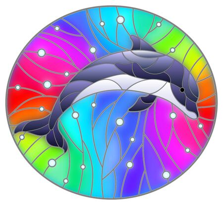 Illustration in the style of stained glass with dolphin on a rainbow background  and air bubbles Ilustrace