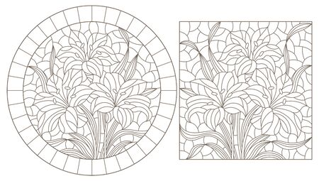 Set of contour stained glass illustrations with bouquets of Lily flowers, dark outlines on white background