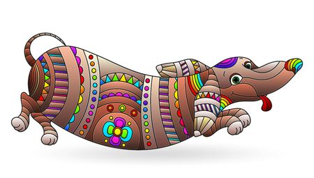 Illustration in stained glass style with abstract fun dog Dachshund, dog isolated on a white background Ilustrace