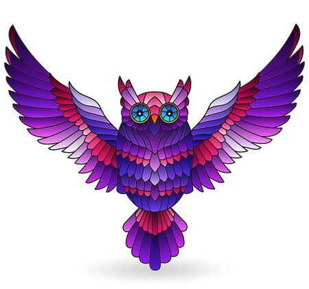 Stained glass illustration with purple owl, bright bird isolated on white background