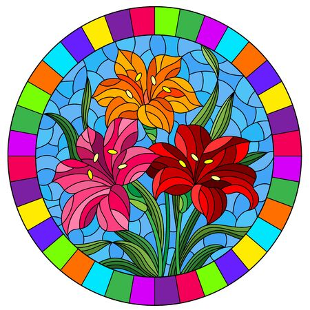 llustration in stained glass style with flowers, leaves and buds of bright lilies on a blue background, round image in a bright frame Ilustrace
