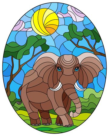 Illustration in stained glass style with cute elephant on the background of green trees of cloudy sky and sun, oval image