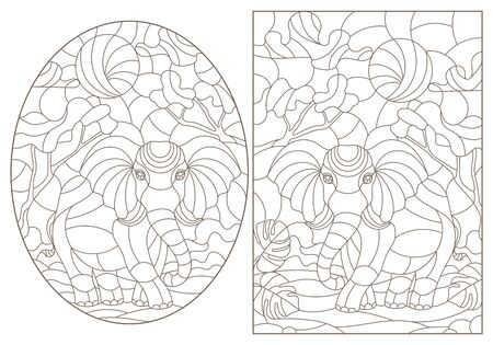 Set of contour illustrations of stained glass Windows with elephants, dark contours on a white background