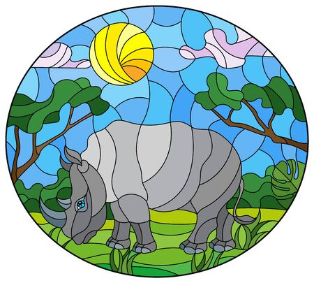 Illustration in stained glass style with cute gray  rhino on the background of green trees of cloudy sky and sun, oval image