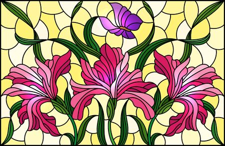 Illustration in stained glass style with a bouquet of pink irises and purple butterflies on a yellow background
