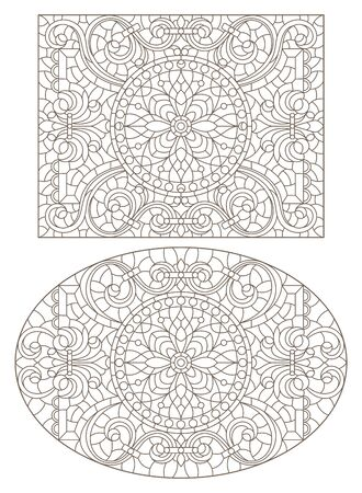 Set contour illustrations of stained glass with abstract swirls and flowers , horizontal orientation Stock Illustratie
