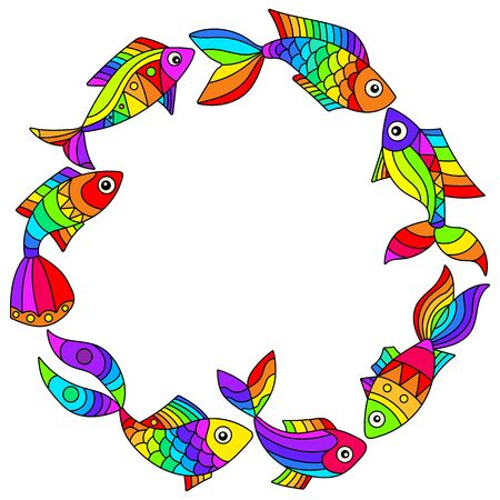 A set of illustrations in a stained glass style with bright rainbow abstract fish isolated on a white background