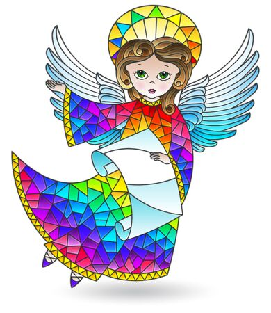 Stained glass illustration with a cute cartoon angel with scroll, coloured figure isolated on a white background Stock Illustratie
