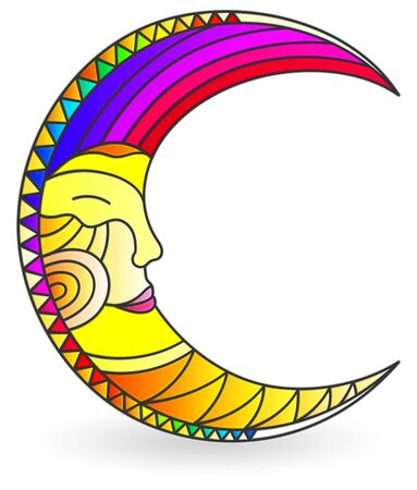 Stained glass illustration  with a  moon with faces, isolated on a white background