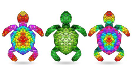 Set of illustrations in a stained glass style with bright turtles, isolated on a white background