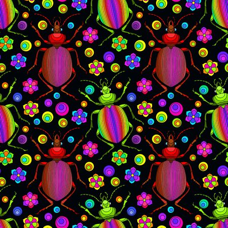 Seamless pattern with beetles, deer and flowers, bright insects on a dark  background Stock Illustratie