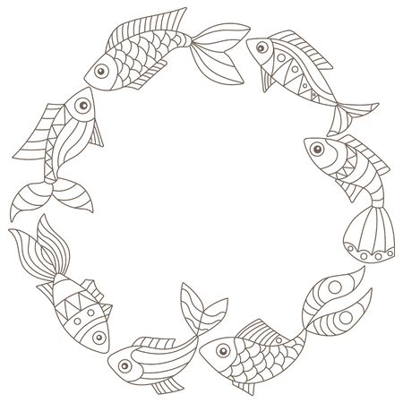 A set of illustrations in a stained glass style with abstract fishes, dark contours isolated on a white background