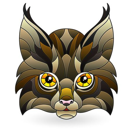Illustration in stained glass style with the head of a wild lynx, isolated on a white background