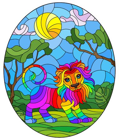 Illustration in stained glass style with cute rainbow lion on the background of green trees of cloudy sky and sun, oval image Stock Illustratie