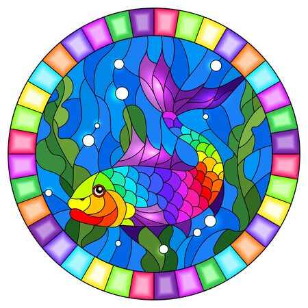 Illustration in stained glass style with an abstract bright fish on the background of water and algae, oval image