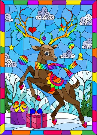 Illustration in stained glass style on the theme of winter holidays, cute cartoon deer on the background of a winter landscape
