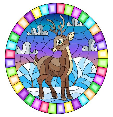 Illustration in stained glass style with a fawn on the background of winter landscape and cloudy sky, oval image in bright frame Stock Illustratie