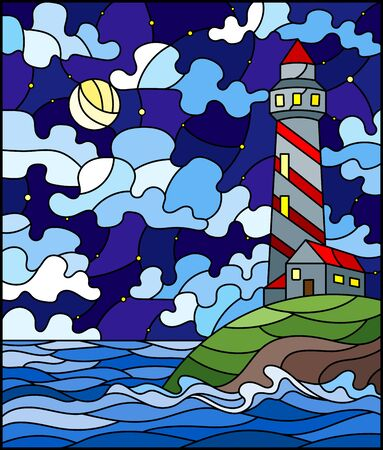 Illustration in stained glass style with seascape, lighthouse  on a background of sea and night sky with a moon