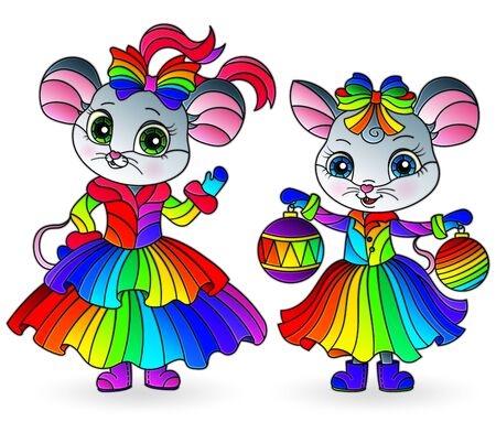 Set of illustrations in stained glass style with cute cartoon mice, isolated on a white background