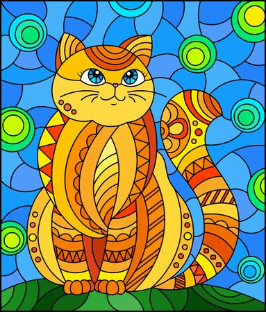 Illustration in stained glass style with abstract cute rу�² cat on a blue background Stock Illustratie