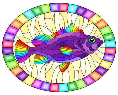 Illustration in stained glass style with abstract bright sea bass on a yellow  background, oval image in bright frame