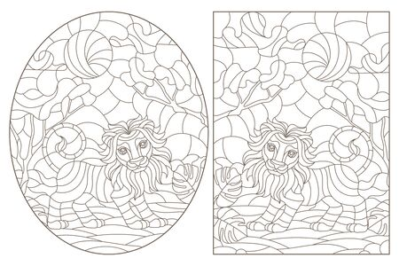 Set of contour illustrations of stained glass Windows with lions, dark contours on a white background Stock Illustratie