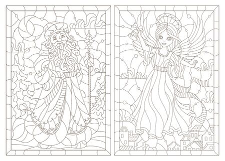 Set of contour illustrations of stained glass Windows on the theme of winter holidays, Santa Claus and angel girl, dark outlines on a white background Illusztráció