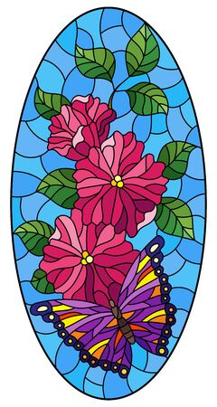 Illustration in stained glass style with a bright purple butterfly on a pink flowers, oval image on a blue background Stock Illustratie