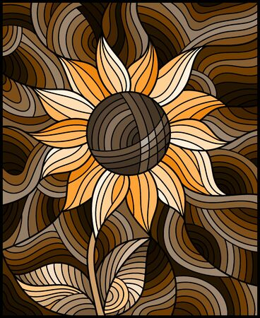 Illustration in stained glass style with bright yellow abstract flower on a brown wavy background,sepia