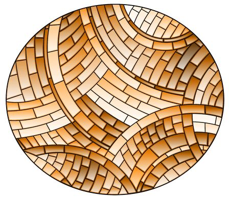 Illustration in stained glass style with abstract  background, brown tiles,sepia , oval picture 矢量图像