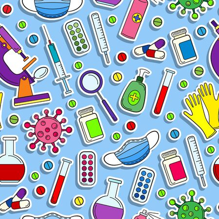 Seamless pattern on the theme of medicine and diseases, medical equipment and viruses, colored stickers icons on a blue background