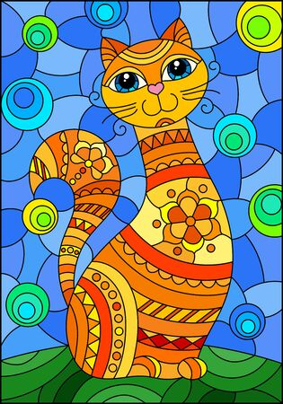 Illustration in stained glass style with abstract cute red cat on a blue background