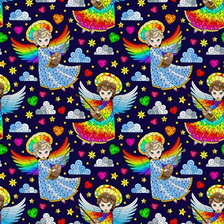 Seamless pattern on the theme of Valentine's day, cute angels and hearts on a dark blue background Ilustração