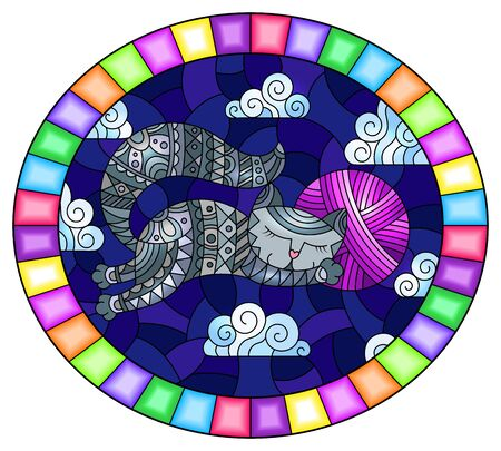 Stained glass illustration of a cartoon grey cat hugging a ball of pink yarn on the background of night sky and clouds, oval image in bright frame Ilustração