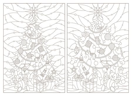 Contour illustrations of a stained glass window with a Christmas tree and a toy bear ,dark outlines on white background