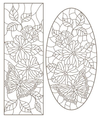 Set of contour illustrations of stained-glass Windows with flowers and butterflies, oval and rectangular image, dark contours on a white background