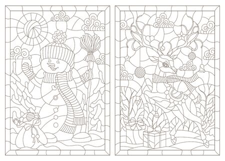 Set of contour illustrations of stained glass Windows on the theme of winter holidays, snowman and deer, dark outlines on a white background