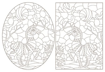 Set of contour illustrations of stained glass Windows with Zebras , dark contours on a white background 矢量图像