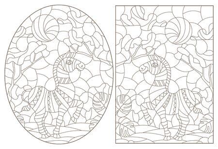 Set of contour illustrations of stained glass Windows with Zebras , dark contours on a white background Illusztráció